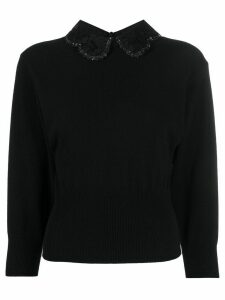 Valentino lace collar knitted jumper - Black