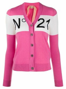 Nº21 logo knit slim fit cardigan - PINK