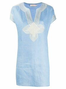 Tory Burch embroidered shift blouse - Blue
