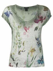 Avant Toi floral -print linen T-shirt - Green