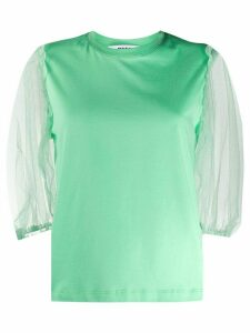 MSGM tulle-sleeved T-shirt - Green