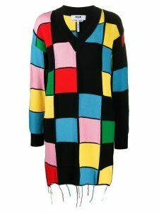 MSGM v-neck patchwork sweater - Black