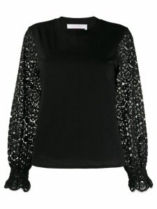 See by Chloé lace-panelled sweatshirt - Black
