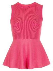 Theory ribbed-shell peplum top - PINK