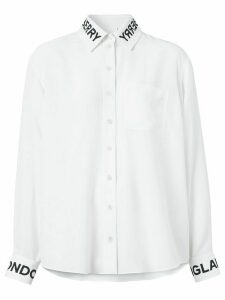 Burberry printed logo silk shirt - White