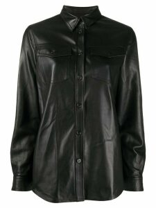 Stewart leather shirt jacket - Black