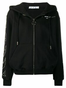 Off-White arrow print zipped hoodie - Black
