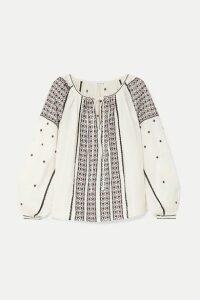 FRAME - Anita Embroidered Linen Blouse - Cream