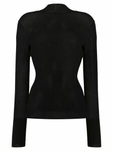 Dion Lee long sleeve sheer ribbed top - Black