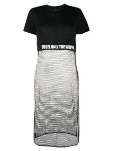 Diesel long-line mesh panelled T-shirt - Black