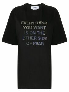 MSGM crystal slogan oversized T-shirt - Black