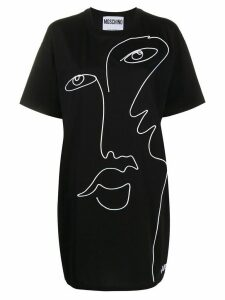 Moschino Cornely embroidery T-shirt dress - Black
