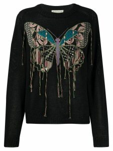 Etro embroidered butterfly sweater - Black