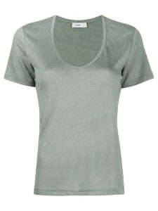 Closed U-neck cotton T-shirt - Green