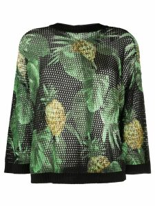 Twin-Set pineapple print open knit jumper - Black