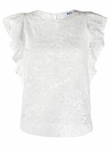 MSGM floral-lace ruffled blouse - White
