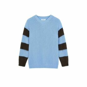 Chinti & Parker Sky-blue Alpaca-striped Chunky-knit Cotton Sweater