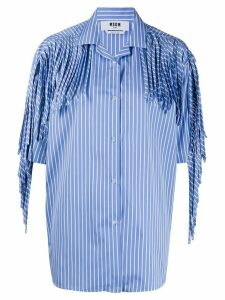 MSGM fringed short sleeve shirt - Blue