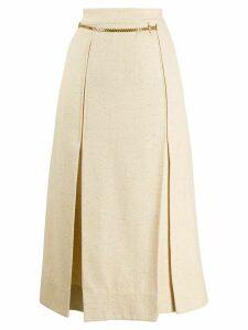 Victoria Beckham chain detail pleated skirt - NEUTRALS