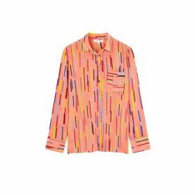 Chinti & Parker Dusty-rose Verticals Silk Crepe De Chine Shirt