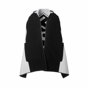 Burberry Logo Graphic Wool Cotton Jacquard Hooded Cape