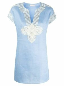 Tory Burch embroidered details tunic - Blue