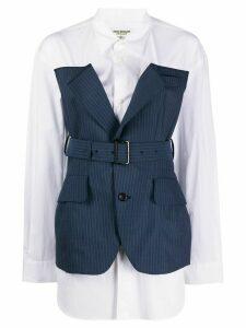 Junya Watanabe layered style striped panel shirt - White