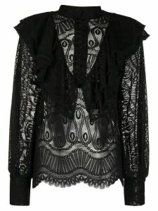 SO ALLURE ruffled lace shirt - Black