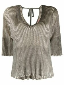 Twin-Set ribbed lurex knitted top - Grey