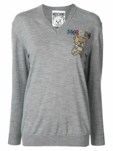 Moschino embroidered Teddy Bear V-neck jumper - Grey