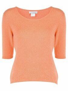 Avant Toi knitted short-sleeve pullover - ORANGE