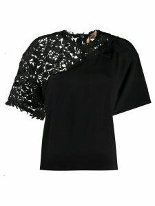 Nº21 foliage embroidered boxy T-shirt - Black