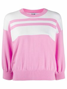 MSGM block stripe knit jumper - PINK
