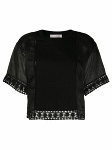 See by Chloé crew neck embroidered blouse - Black