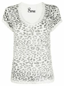 8pm leopard-print T-shirt - White