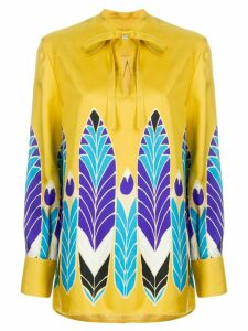 Valentino feather print bow fastening blouse - Yellow
