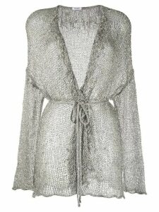 P.A.R.O.S.H. V-neck metallic knit cardigan - SILVER