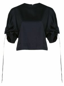 Tibi Harrison Chino Drawcord Sleeve top - Blue