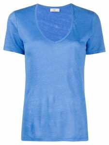 Closed plain V-neck T-shirt - Blue