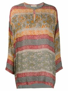 Mes Demoiselles Kanji tribal-print blouse - Grey