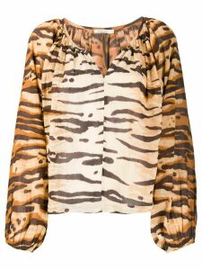 Mes Demoiselles Birmania tiger-print cotton blouse - Brown