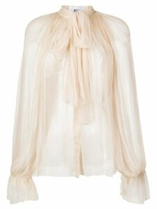 Atu Body Couture sheer tied-neck blouse - NEUTRALS