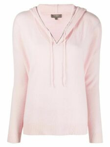 N.Peal chain trim cashmere hoodie - PINK