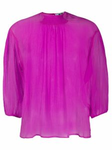 MSGM silk cropped sleeve blouse - PINK
