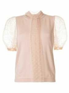 RedValentino Point d'Esprit sleeves knitted top - PINK