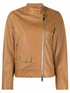 Peserico zipped leather jacket - Brown