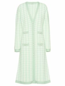 Miu Miu bouclé long houndstooth cardigan - Green
