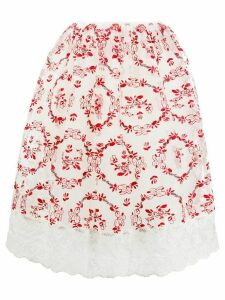 Simone Rocha floral-embroidered tulle A-line skirt - White