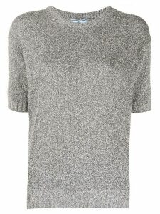 Prada round neck knit T-shirt - Grey