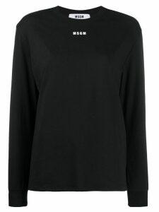 MSGM logo print long-sleeve T-shirt - Black